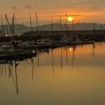 Puesta de sol en el Puerto Deportivo de Gijón